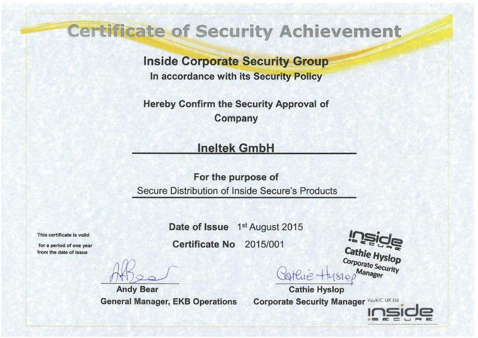 Certificate of Security Achivement
