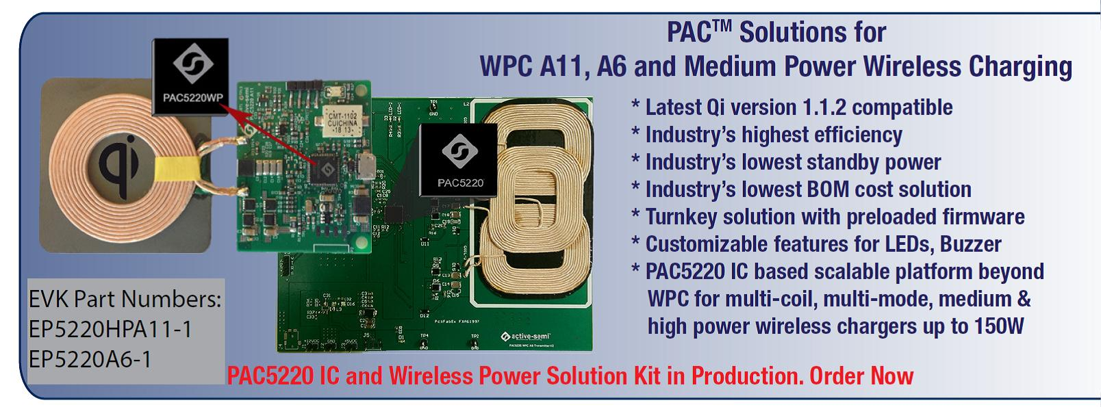 PAC Solutions for WPC A11, A6 and Medium Power Wireless Charging