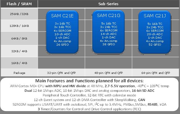 Atmel SAM C21 device details