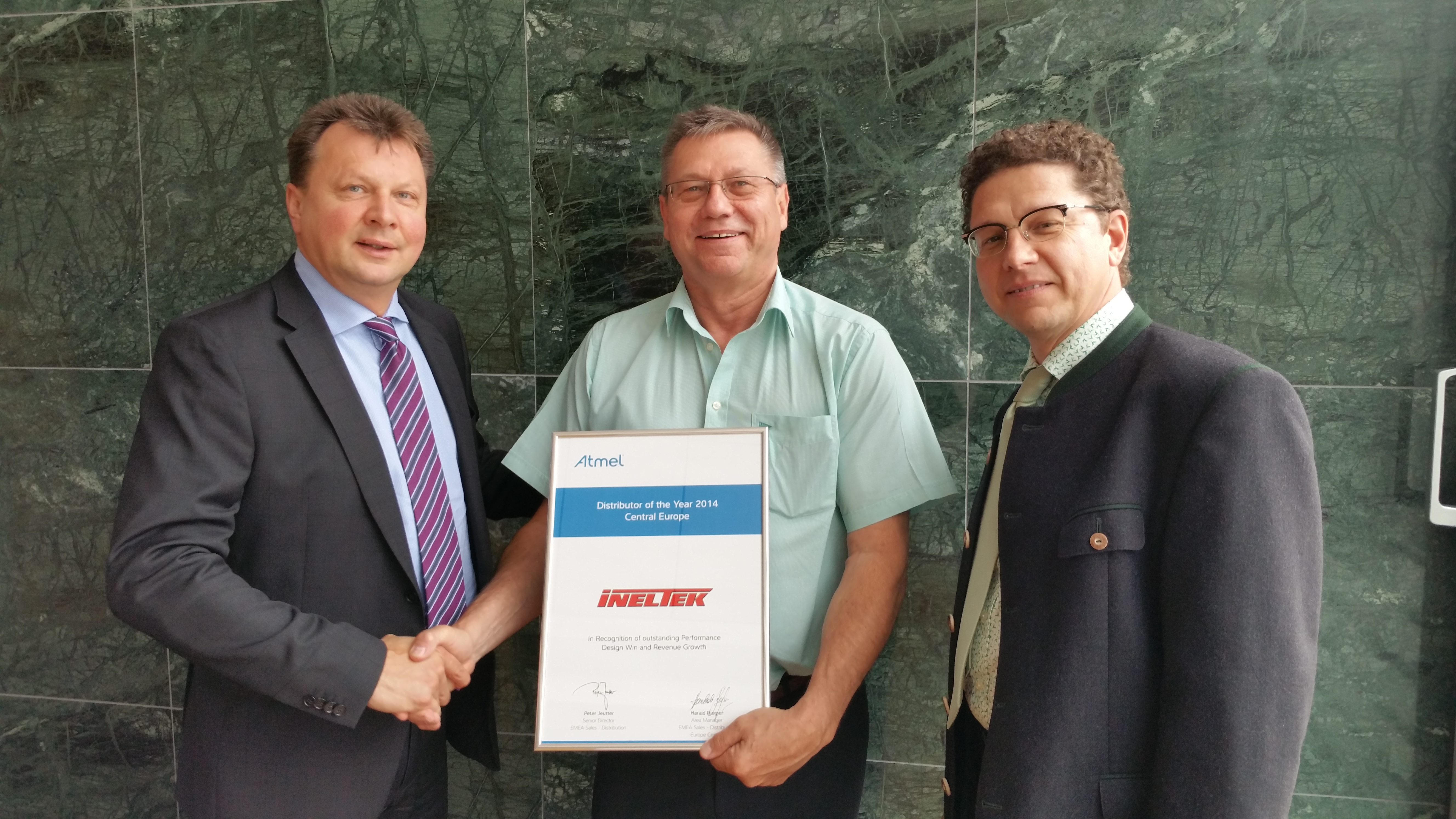 Atmel Awards Ineltek GmbH with EMEA Distributor of the Year 2014